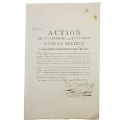 Societe D'Assurances Maritimes Etablie A Bruges, Action, 1782 Issued Insurance Policy for Ocean Goin