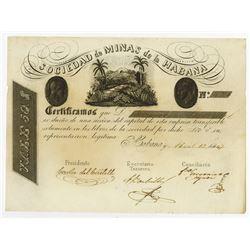 Sociedad de Minas de la Habana, 1847 Issued Stock Certificate.