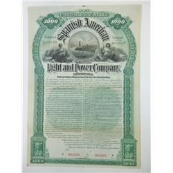 Spanish American Light and Power Co., 1894 Specimen Bond.