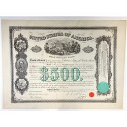 United States of America, 1866 First Mortgage Bond signed by Antonio Lopez de Santa Anna.