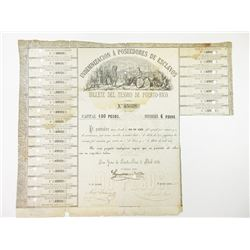 Extraordinary, Puerto Rico 1876 Treasury Bond for the Indemnification of Slave Owners.