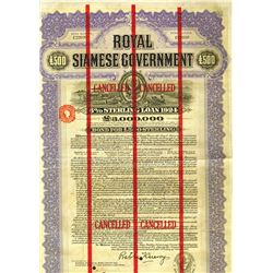 Royal Siamese Government, 1924, £500 6% Sterling Loan.
