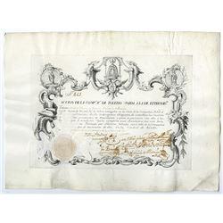 La Compania de Toledo, 1750's Historic Spanish Share Certificate Rarity.
