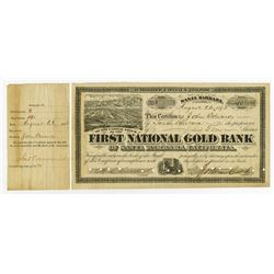 First National Gold Bank of Santa Barbara, California, 1873 Issued Stock Certificate.