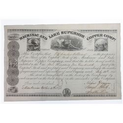 Mackinac and Lake Superior Copper Co., 1845 Issued Stock Certificate.