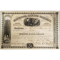 Minnesota Mining Co. 1863 Issue Stock Certificate.