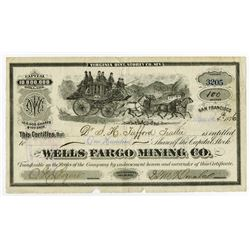 Wells Fargo Mining Co., 1876 Stock Certificate with Racing Stage Coach.