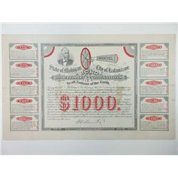 State of Michigan, City of Kalamazoo, 1886, Manvel Wind Engine Advertising Fantasy Bond.