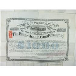 Pennsylvania Canal Co. 1870 $1000 Bond Group Signed by Alfred Mordecai was a Jewish graduate of West