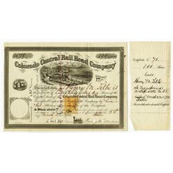 Colorado Central Rail Road Co. 1872 Issued Stock With Imprinted Revenue & Henry M. Teller Signature.
