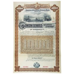 Union Elevated Railroad Co., 1887 Specimen Bond.