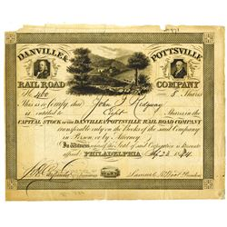 Danville & Pottsville Rail Road Co., 1844 Issued Stock Certificate.