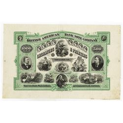 British American Bank Note Company, Engravers & Printers, ca.1866 Proof Advertising Sheet Rarity.