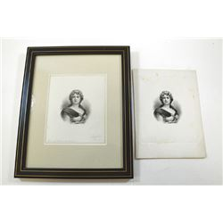 Lorenzo Hatch engraved and signed india paper proof ca.1880-90's of Allegorical Peace Portrait.