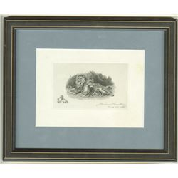 "Smillie Engraving ca.1885 of ""Lion's Den"" with a Small Self Portrait and Signed by Him."