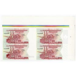 DuraNote Uncut Block of 4 notes, ND  1980-90's Specimen DuraNote Polymer Notes.