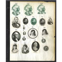 Sample Proof Vignette Page, ca.1880-1920s of 19 Different Portraits of Washington, Lincoln, and Othe