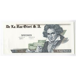 De La Rue Giori S.A., Specimen DuraNote Polymer Advertising note with Beethoven on right.