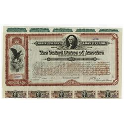 Spanish American War - Three Per Cent Loan of 1898, $20 Bond.