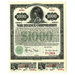 War Finance Corporation, 1919 Specimen $1000 Bond.
