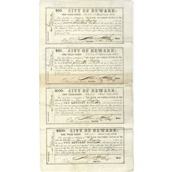 Newly Discovered, City of Newark, NJ,  March 15, 1865, One Year Scrip Un-Cut Sheet Signed by Civil W