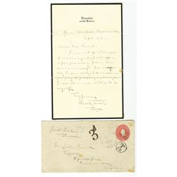 Mark Twain Sends a 1902 Letter With Postage Due to a Man in England.