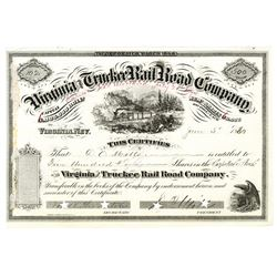 Virginia and Truckee Rail Road Co. 1880 Stock Certificate with D.O. Mills Autographs.