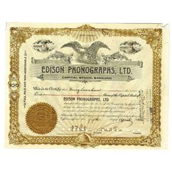Edison Phonigraphs, Ltd., 1922 Stock Certificate ITASB Thomas Edison.