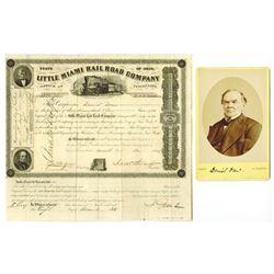 Little Miami Rail Road Co., 1854 Share Certificate Signed by Daniel Drew.