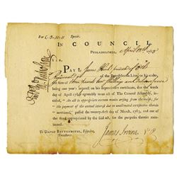 In Council, Interest of Depreciation certificate 1783 Signed by General James Irvine at the Battle o