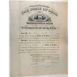 RUTHERFORD B. HAYES. 19th U.S. President. Partly Printed Document Signed ñR. B. Hayesî as Governor o