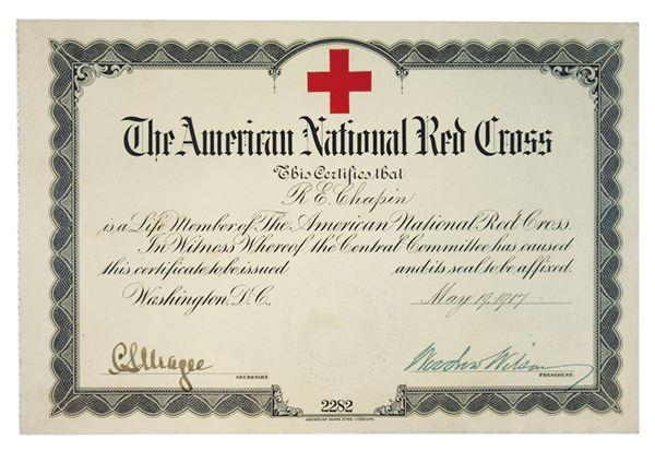 American National Red Cross 1917 Membership Certificate