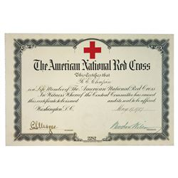 American National Red Cross 1917 Membership Certificate Signed by President Woodrow Wilson as Presid
