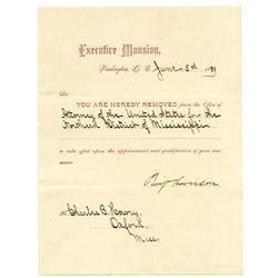 BENJAMIN HARRISON. 23rd U.S. President. Partly Printed Letter Signed ñBenj Harrisonî as President, 1