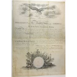 JAMES MADISON. 4th U.S. President. Partly Printed Document Signed ñJames Madisonî as President and ñ