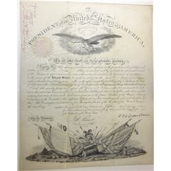 MARTIN VAN BUREN. 8th U.S. President. Partly Engraved Document Signed ñM Van Burenî as President and