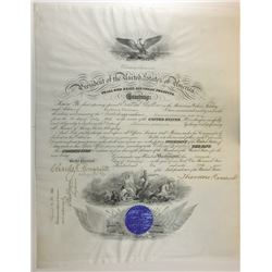THEODORE ROOSEVELT. 26th U.S. President. Partly Engraved Document Signed ñTheodore Rooseveltî as Pre