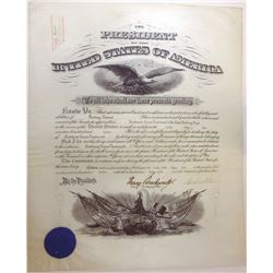 WOODROW WILSON. 28th U.S. President. Partly Engraved Document Signed ñWoodrow Wilsonî as President a