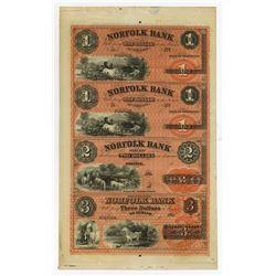 Norfolk Bank, 1850's Uncut Full Color Remainder Sheet of 4 Notes.