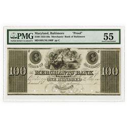 Merchants Bank, Baltimore, ca.1830's Obsolete Proof Banknote.