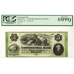 Continental Bank, 18xx, $3 Remainder Obsolete Bank Note.
