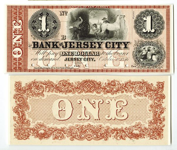 Bank of Jersey City, 1856 $1 Proof Obsolete Banknote