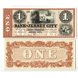 Bank of Jersey City, 1856 $1 Proof Obsolete Banknote.