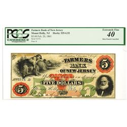 Farmers Bank of New Jersey, 1861 Issued Obsolete Banknote.
