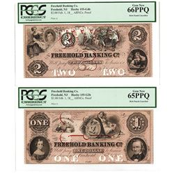 Freehold Banking Co., 18xx (ca.1850's), High Grade Proof Banknote Pair.