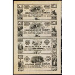 New Hope Delaware Bridge Co., Lambertville, NJ Uncut Obsolete Sheet.