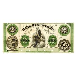 Bank of New-York, 1860 Proof Obsolete Banknote.