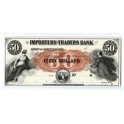 Importers & Traders Bank of New York, 18xx, Proof $50, One of 3 Known.