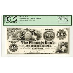 Phoenix Bank, 1852 Proof Obsolete Banknote.