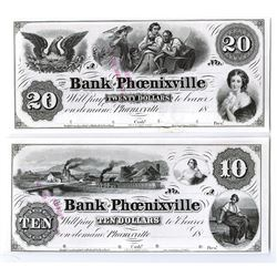 Bank of Phoenixville, 18xx, Proof $10 and $20 Obsolete Bank Note Pair.
